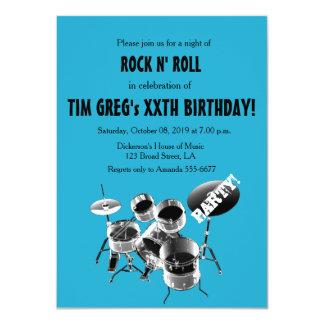 Drum Set Rock n' Roll Rocker Birthday Party Card