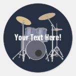Drum Set Round Sticker