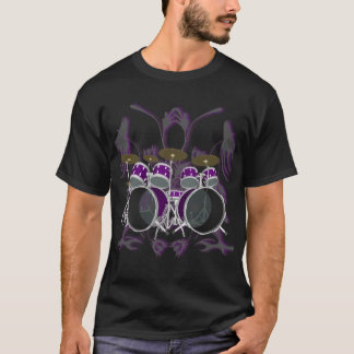 Drum Set & Tribal Artwork (purple) - Black T-Shirt