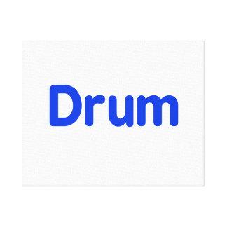 drum text blue music design stretched canvas print
