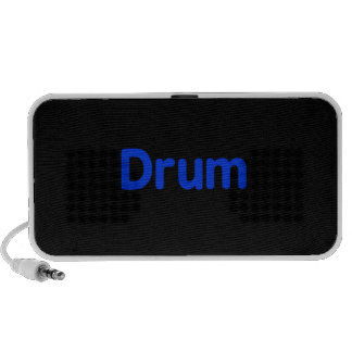 drum text blue music design iPod speaker