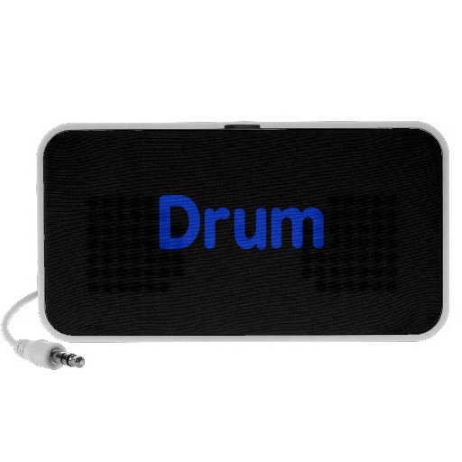 drum text blue music design iPod speaker