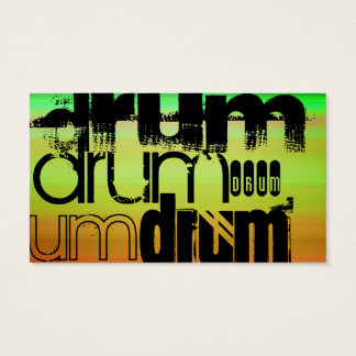 Drum; Vibrant Green, Orange, & Yellow Business Card