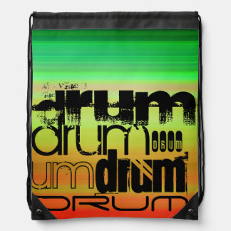 Drum; Vibrant Green, Orange, & Yellow Drawstring Bag