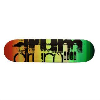 Drum; Vibrant Green, Orange, & Yellow Skate Board