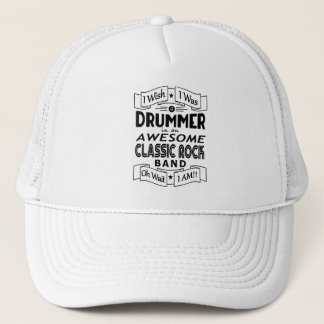 DRUMMER awesome classic rock band (blk) Trucker Hat