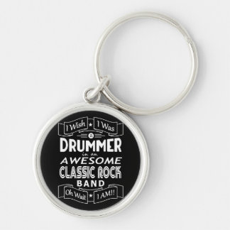 DRUMMER awesome classic rock band (wht) Key Ring