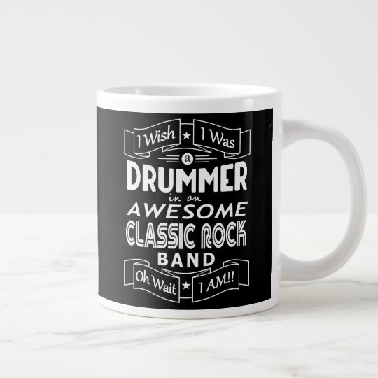 DRUMMER awesome classic rock band (wht) Large Coffee