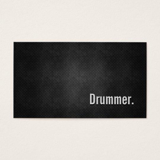 Drummer Cool Black Metal Simplicity Business Card