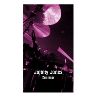 Drummer Cymbals and Toms Magenta Business Card