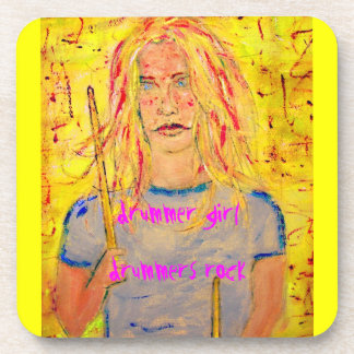drummer girl slogans art coasters