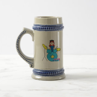 Drummer Light/Red Beer Stein