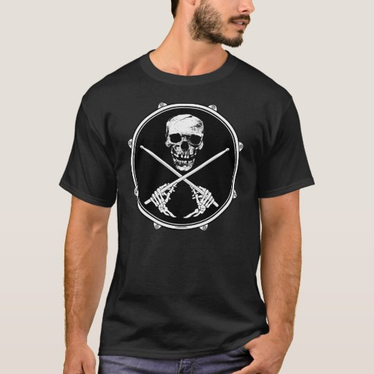 Drummer Pirate Skull T Shirt
