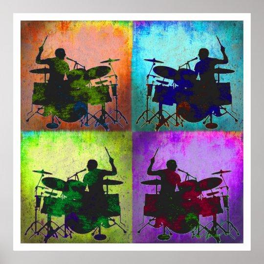 Drummer Pop art, Copyright Karen J Williams Poster