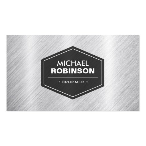 Create your own drummer business cards drummer silver metallic look colourmoves Image collections