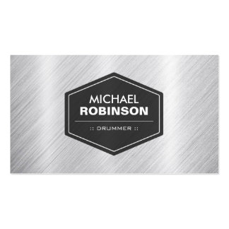 Drummer - Silver Metallic Look Pack Of Standard Business Cards
