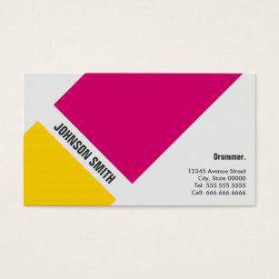 For drummer business cards business card printing zazzle uk drummer simple pink yellow business card colourmoves Image collections