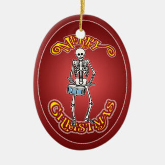 Drummer Skeleton Personalized Christmas Ornament