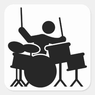 Drummer Square Sticker