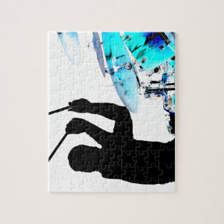 Drummer sticks in air shadow blue invert drums jigsaw puzzle
