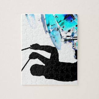 Drummer sticks in air shadow blue invert drums jigsaw puzzle