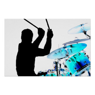 Drummer sticks in air shadow blue invert drums poster