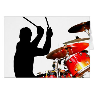 Drummer sticks in air shadow real drums card