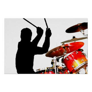 Drummer sticks in air shadow real drums poster