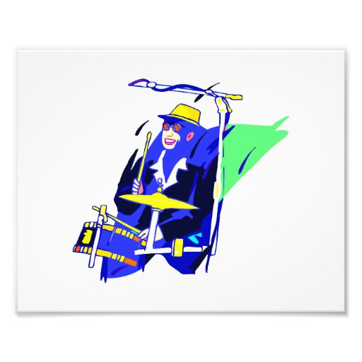 Drummer Sunglasses Blue and Yellow graphic Photo Art