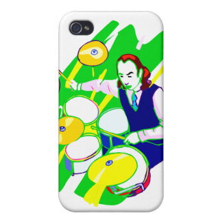 Drummer Wearing Vest Yellow Cymbals Graphic iPhone 4/4S Covers