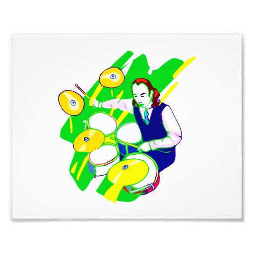 Drummer Wearing Vest Yellow Cymbals Graphic Photo Art
