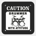 Drummer with Attitude Square Sticker