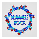 Drummers Rock Red Stars Posters