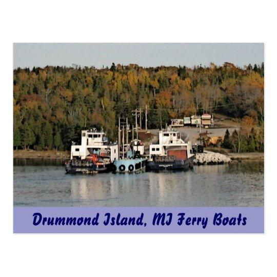 Drummond Island Michigan Ferry Boats Postcard