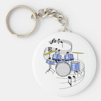 Drums Basic Round Button Key Ring