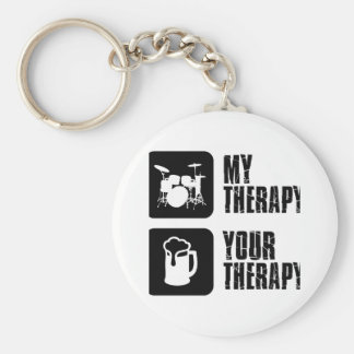 Drums my therapy basic round button key ring
