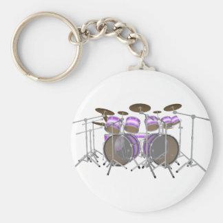 Drums: Purple & White Drum Kit: 3D Model: Basic Round Button Key Ring