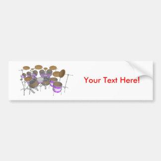 Drums: Purple & White Drum Kit: 3D Model: Car Bumper Sticker