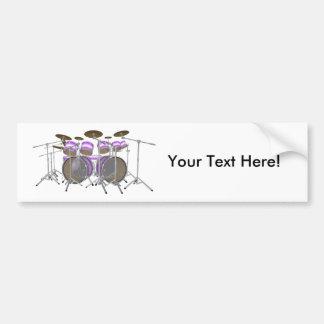 Drums: Purple & White Drum Kit: 3D Model: Bumper Sticker