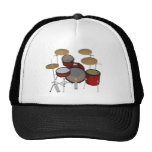 Drums: Red Drum Kit: 3D Model: