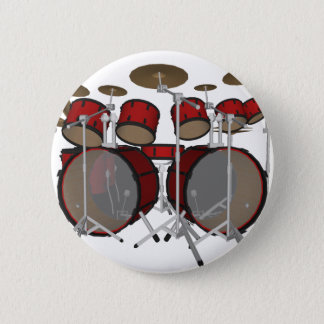 Drums: Red Drum Kit: 3D Model: 6 Cm Round Badge