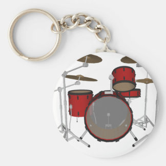Drums: Red Drum Kit: 3D Model: Basic Round Button Key Ring