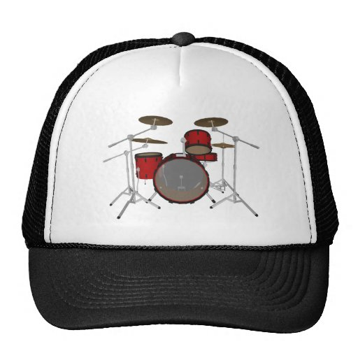 Drums: Red Drum Kit: 3D Model: Trucker Hats