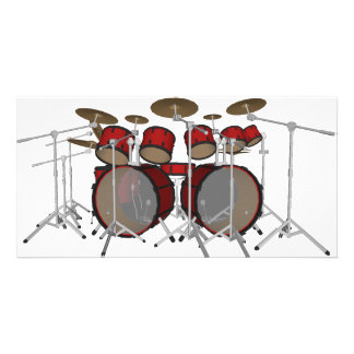 Drums: Red Drum Kit: 3D Model: Customised Photo Card