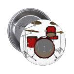 Drums: Red Drum Kit: 3D Model: Pinback Button