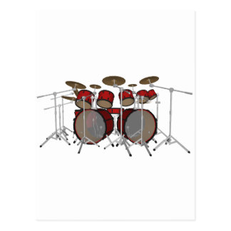 Drums: Red Drum Kit: 3D Model: Postcard