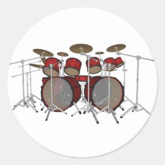 Drums: Red Drum Kit: 3D Model: Round Sticker