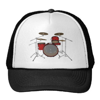 Drums Red Drum Kit 3D Model Trucker Hats