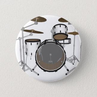 Drums: White Drum Kit: 3D Model: 6 Cm Round Badge