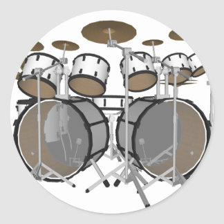 Drums: White Drum Kit: 3D Model: Round Sticker